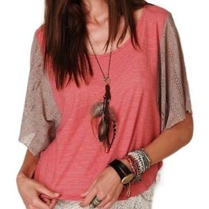 Free People Striped Tee with Lace Sleeves